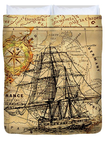 Sailing Ship Map Duvet Cover