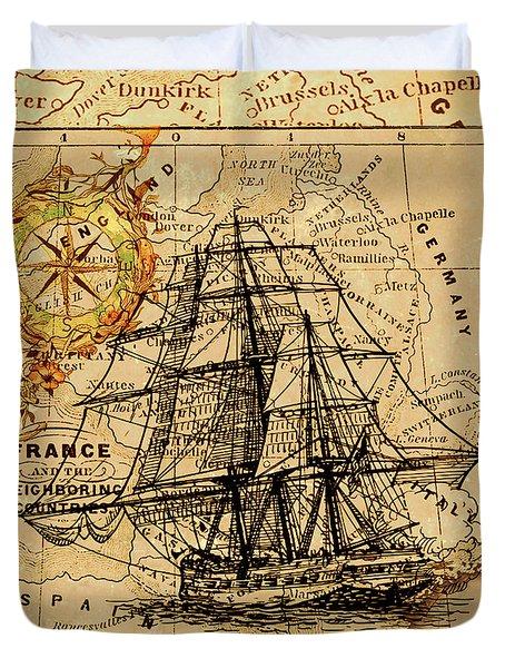 Sailing Ship Map Duvet Cover