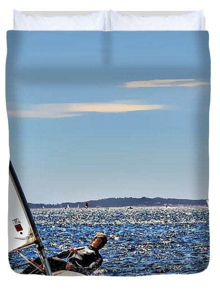 Sailing Ship  In Marseille Duvet Cover
