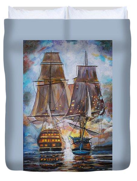 Sailing Ships At War. Duvet Cover
