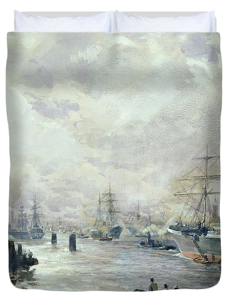 Sailing Ships In The Port Of Hamburg Duvet Cover by Carl Rodeck