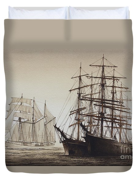 Sailing Ships Duvet Cover by James Williamson