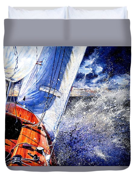 Duvet Cover featuring the painting Sailing Souls by Hanne Lore Koehler