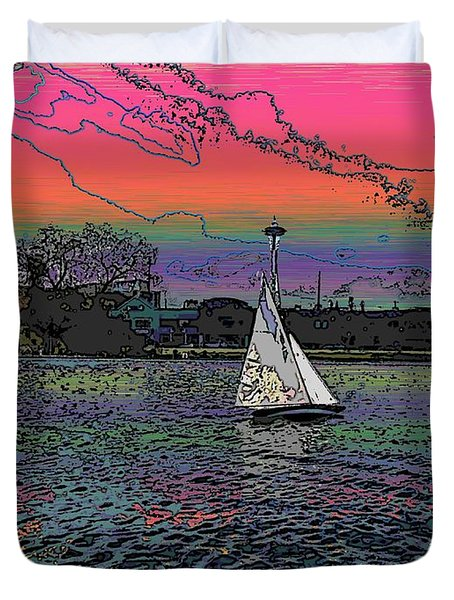Sailing South Lake Union Duvet Cover by Tim Allen