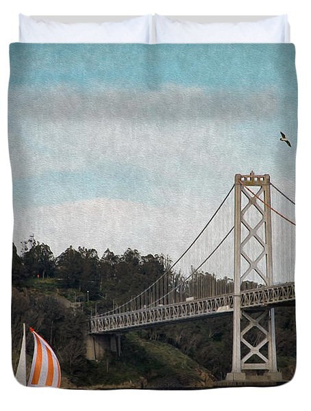 Sailing The Bay Duvet Cover