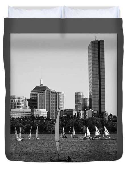 Sailing The Charles River Boston Ma Black And White Duvet Cover