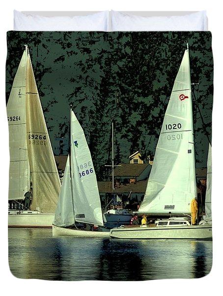 Sailing The Harbor Duvet Cover