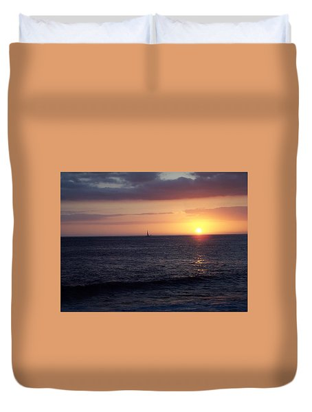 Sailing The Sunset Duvet Cover