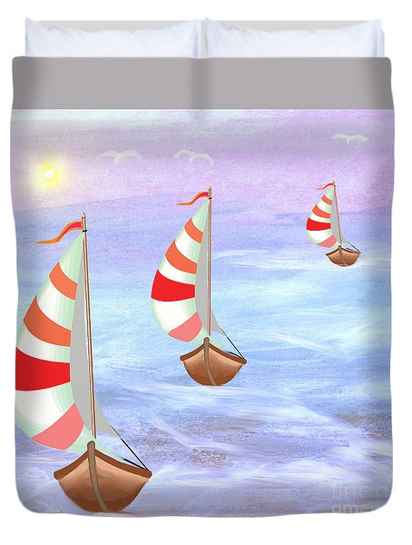 Sailing Threesome Duvet Cover