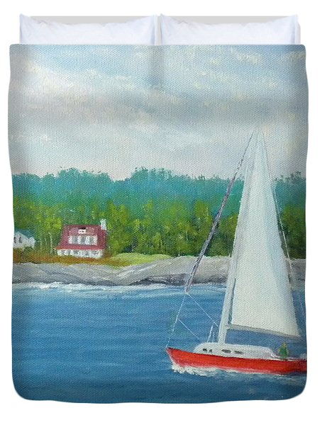 Sailing To New Harbor Duvet Cover