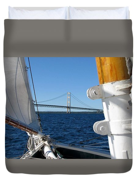 Sailing To The Mackinac Bridge Duvet Cover