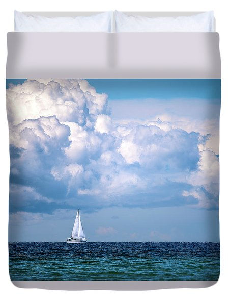Duvet Cover featuring the photograph Sailing Under The Clouds by Onyonet  Photo Studios