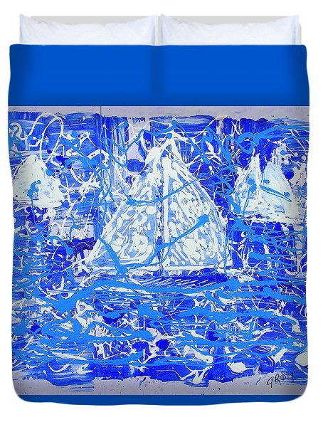 Duvet Cover featuring the painting Sailing With Friends by J R Seymour