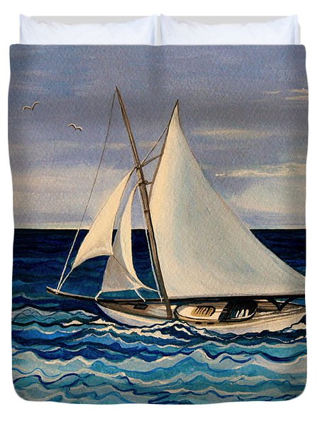 Sailing With The Waves Duvet Cover