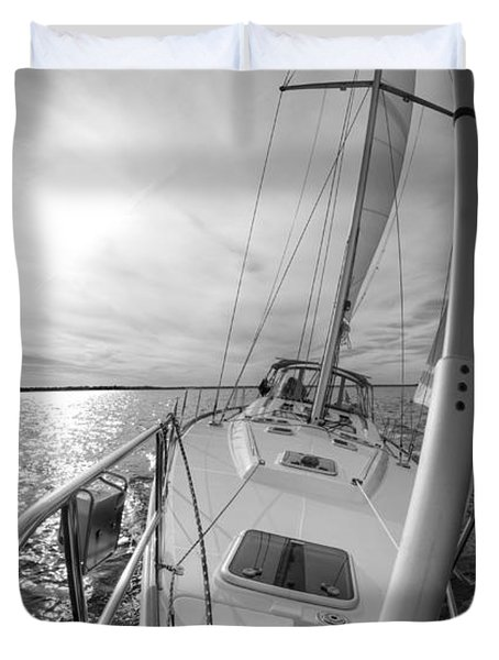 Sailing Yacht Fate Beneteau 49 Black And White Duvet Cover