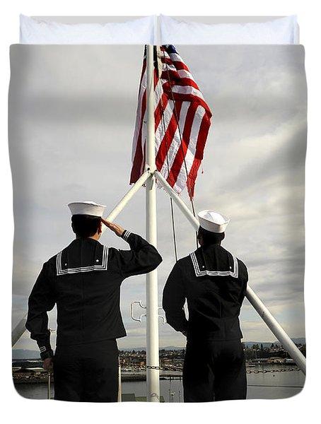 Sailors Raise The National Ensign Duvet Cover by Stocktrek Images