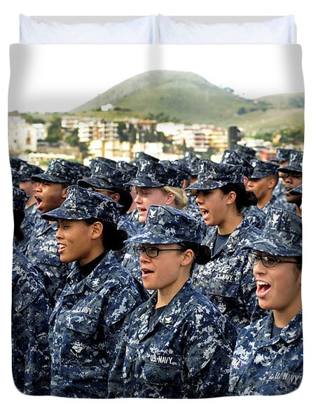 Duvet Cover featuring the photograph Sailors Yell Before An All-hands Call by Stocktrek Images