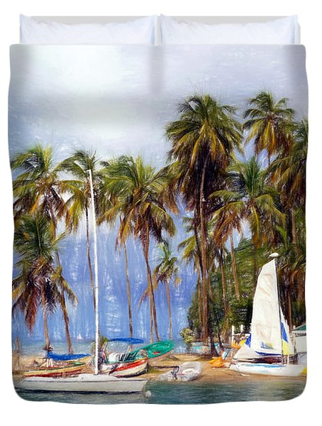 Sails And Palms Duvet Cover by Sue Melvin
