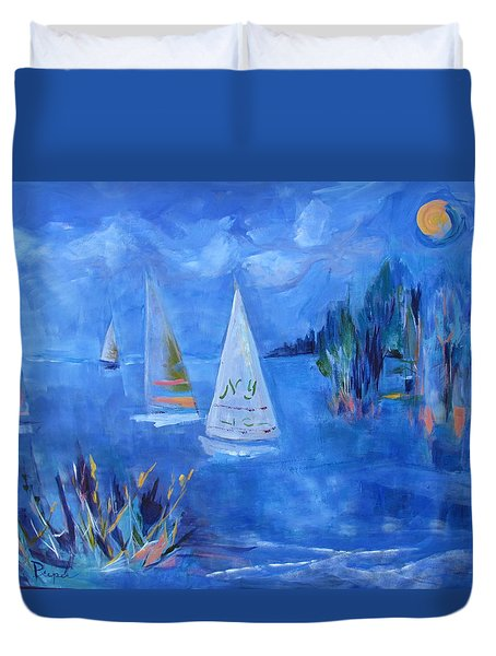 Sails And Sun Duvet Cover by Betty Pieper
