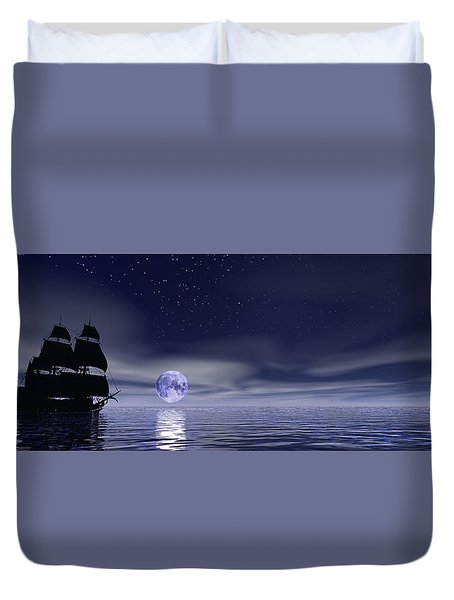Sails Beneath The Moon Duvet Cover