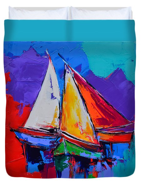 Duvet Cover featuring the painting Sails Colors by Elise Palmigiani