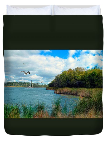 Sails In The Distance Duvet Cover