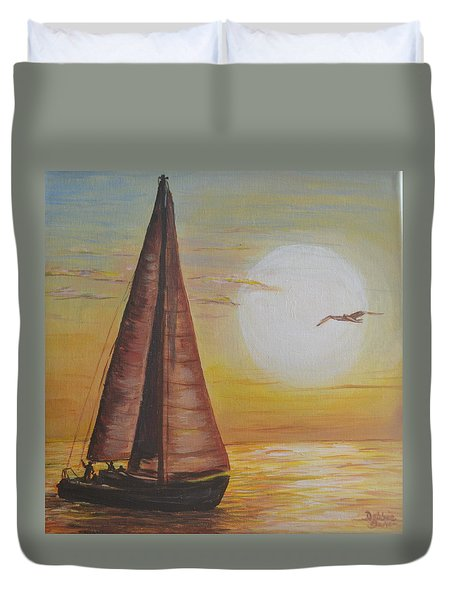 Sails In The Sunset Duvet Cover by Debbie Baker