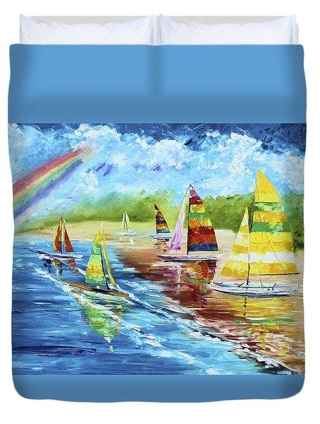 Sails On The Beach Duvet Cover