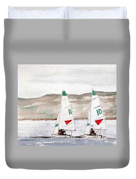 Sails On Thunder Bay Duvet Cover by R Kyllo