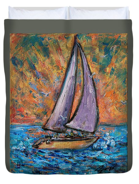 Duvet Cover featuring the painting Sails Up by Xueling Zou