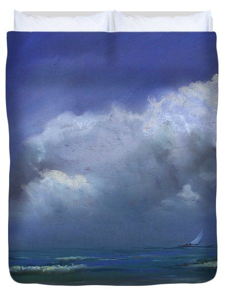 Duvet Cover featuring the pastel Sailscape by Robin Maria Pedrero
