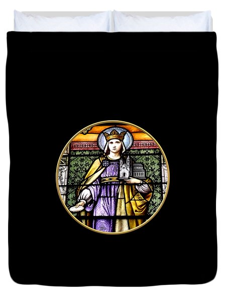 Saint Adelaide Stained Glass Window In The Round Duvet Cover