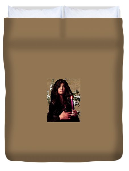 Saint Agnes Gui Ying Cao With Cherry Blossoms Duvet Cover by Suzanne Silvir