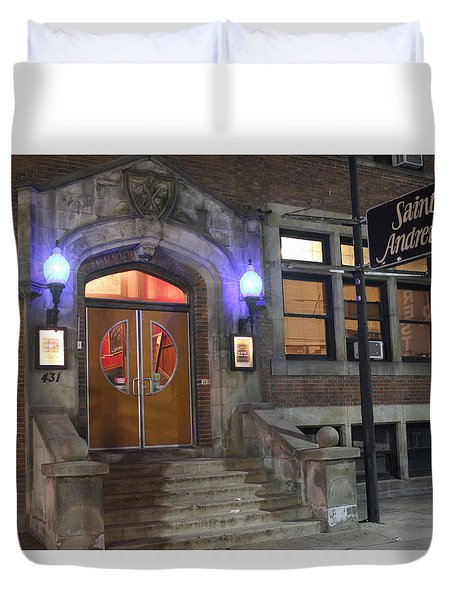 Duvet Cover featuring the photograph Saint Andrew's Music Hall by Michael Rucker