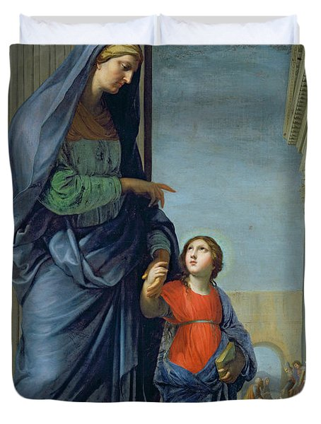 Saint Anne Leading The Virgin To The Temple Duvet Cover by Jacques Stella