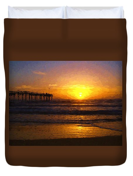 Duvet Cover featuring the photograph Saint Augustine Beach Sunrise by Anthony Baatz
