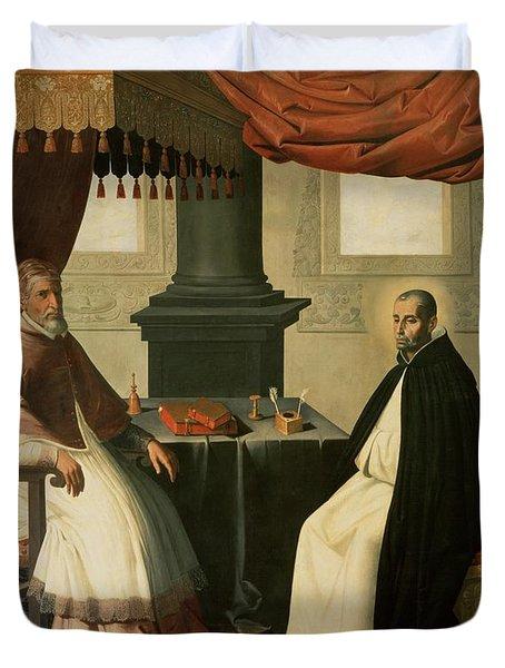 Saint Bruno And Pope Urban II Duvet Cover by Francisco de Zurbaran