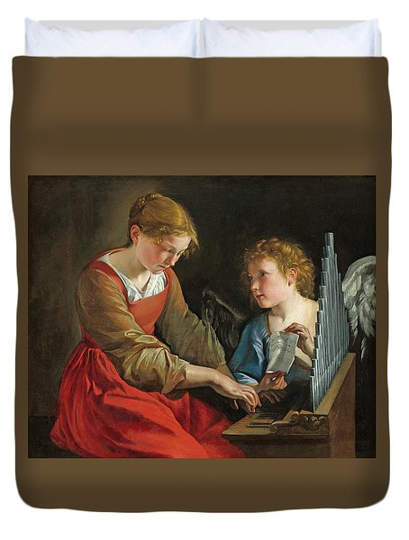 Saint Cecilia And An Angel Duvet Cover