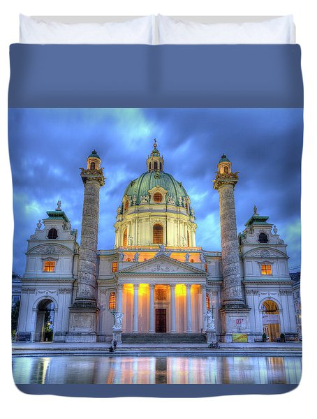 Saint Charles's Church At Karlsplatz In Vienna, Austria, Hdr Duvet Cover