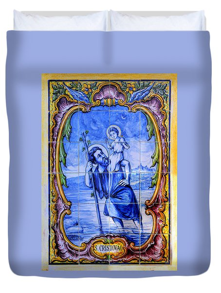 Saint Christopher Carrying The Christ Child Across The River - Near Entrance To The Carmel Mission Duvet Cover