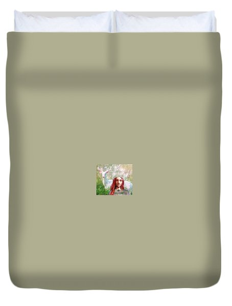 Duvet Cover featuring the painting Saint Dymphna The Healer by Suzanne Silvir