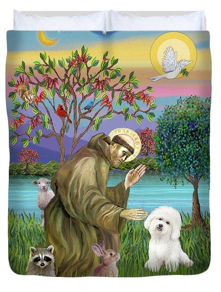 Saint Francis Blesses A Bichon Frise Duvet Cover