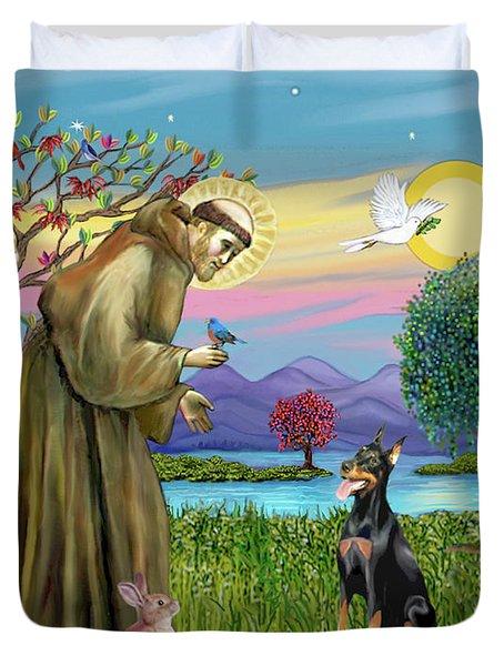 Saint Francis Blesses A Doberman Duvet Cover