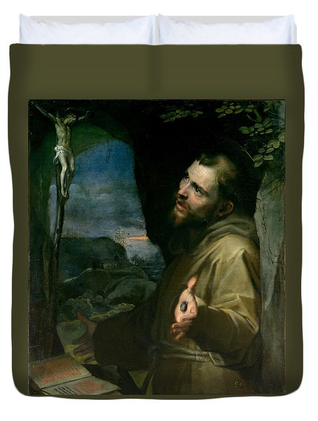 Duvet Cover featuring the painting Saint Francis by Federico Barocci