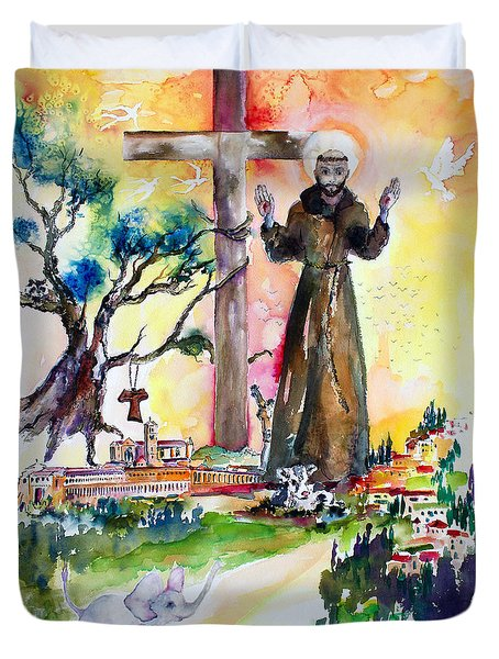 Duvet Cover featuring the painting Saint Francis Of Assisi Italy  by Ginette Callaway