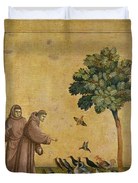 Saint Francis Of Assisi Preaching To The Birds Duvet Cover