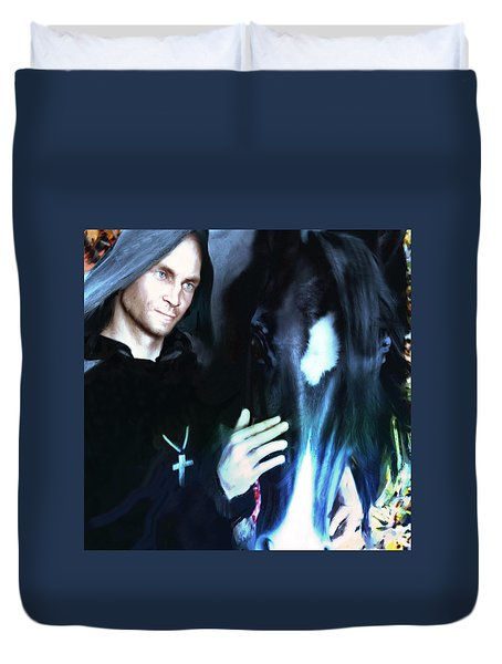 Duvet Cover featuring the painting Saint Francis Of Assisi by Suzanne Silvir