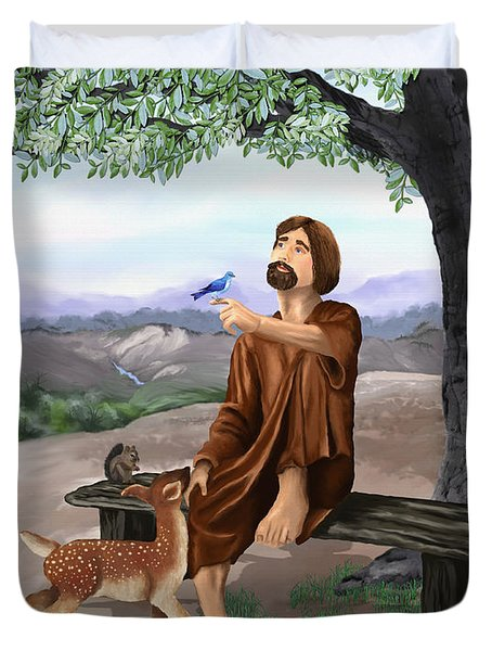 Duvet Cover featuring the painting Saint Francis by Susan Kinney