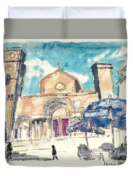 Duvet Cover featuring the painting Saint Gilles Abbey by Martin Stankewitz