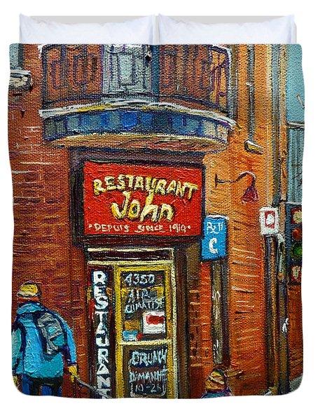 Saint Henri Street In Winter Duvet Cover by Carole Spandau